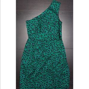 Shoshanna One Shoulder Green Print Dress